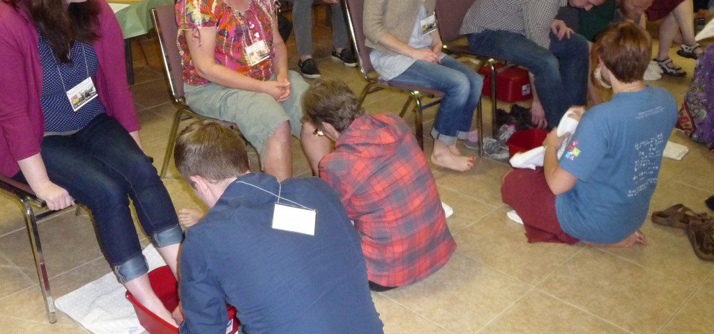 "Footwashing exercise in ""Servant Leadership toward Peace and Ecojustice"" FWCC workshop - March 2014"