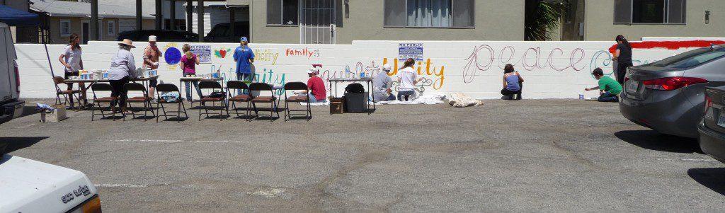 SCQM Mural Painting - April 2014, Santa Monica Meetinghouse Parking Lot